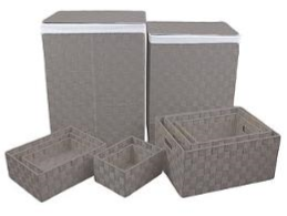Set of 10 Cool Grey Nylon Laundry Storage Set