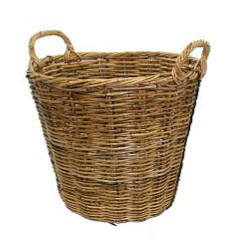 Rattan Tall Round Natural Utility Basket