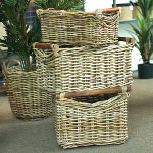 Rattan Set of 3 Kubu Grey Utility Baskets with Wood Handles