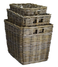 Rattan Set of 3 Deep Kubu Grey Storage Baskets