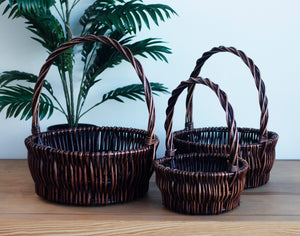 Set of 3 Willow Round Dark Brown Carry Baskets
