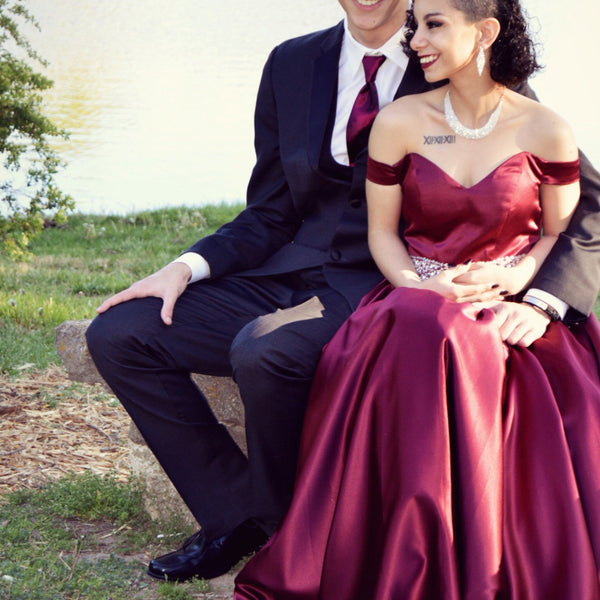 Customer Gallery - Off Shoulder Burgundy Satin Long Prom Dress 2020
