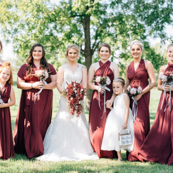 Customer Gallery - Burgundy Spandex Long Convertible Bridesmaid Dress