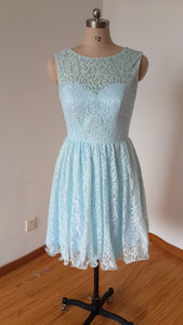 V-back Short Light Sky Blue Lace Bridesmaid Dress