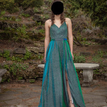 Load image into Gallery viewer, Glitter Emerald Green Long Prom Dress 2020