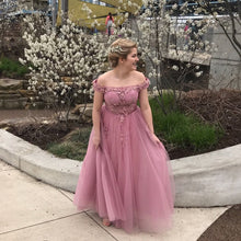 Load image into Gallery viewer, Off Shoulder Dusty Rose Lace Tulle Long Prom Dress 2020