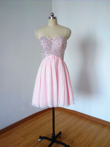 Sexy Sweetheart Pale Pink Chiffon Short Homecoming Dress