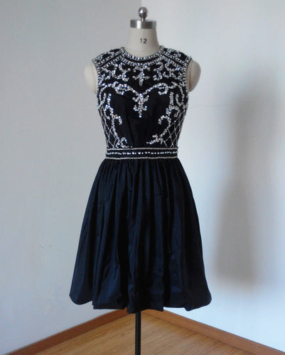 Backless Black Taffeta Short Beaded Homecoming Dress