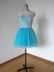 Ball Gown Ivory Lace Turquoise Blue Tulle Short Homecoming Dress