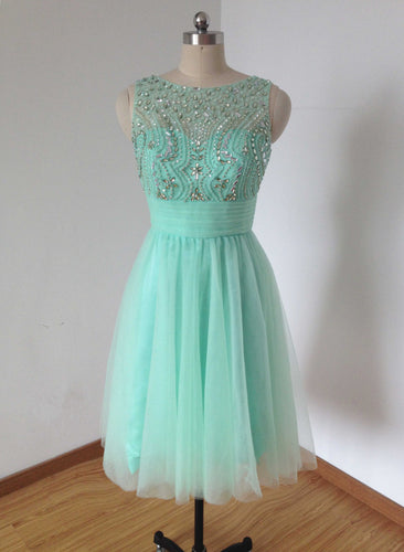Beaded V-back Mint Tulle Short Homecoming Dress