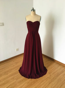 Sweetheart Burgundy Chiffon Long Bridesmaid Dress