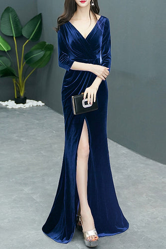 Velvet Prom Dress 2020 Royal Blue Long 3/4 Sleeves