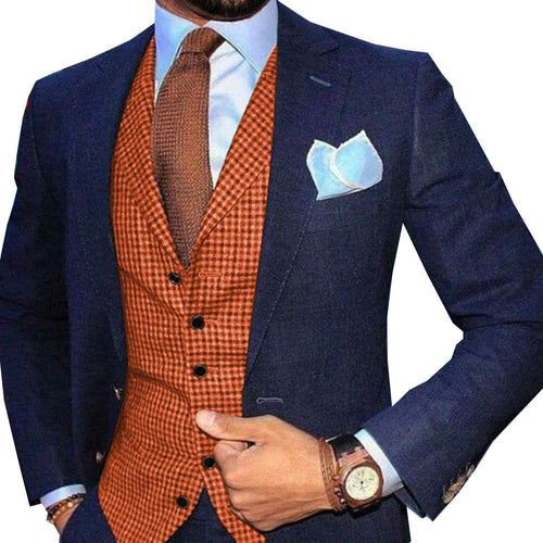 Made to Order Orange Mens Vest Casual Business Waistcoat Lapel Collar