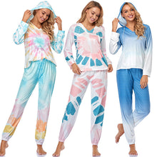 Load image into Gallery viewer, Womens Tie Dye Printed Long Sleeve Tops and Pants Long Pajamas Set Joggers PJ Sets Nightwear Loungewear