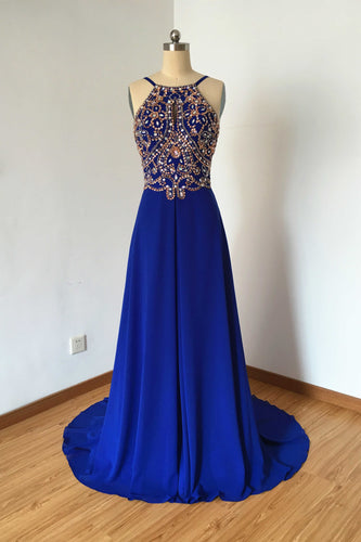 Long Prom Dress, Prom Dress 2020, Spaghetti Straps Prom Dress, Royal Blue Prom Dress, Chiffon Prom Dress, Backless Prom Dress