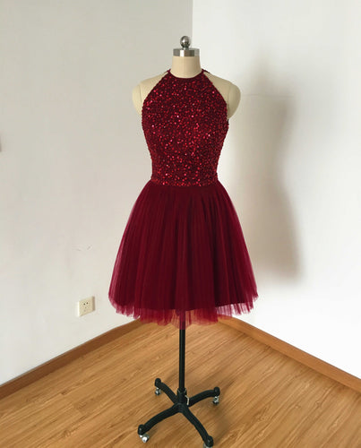 Backless Burgundy Tulle Short Homecoming Dress