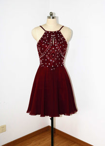 Backless Spaghetti Straps Burgundy Chiffon Short Beaded Homecoming Dress