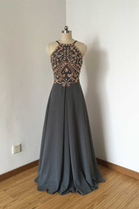 Backless Spaghetti Straps Charcoal Grey Chiffon Long Prom Dress 2020