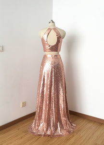 Two Piece Rose Gold Sequin Long Prom Dress 2020