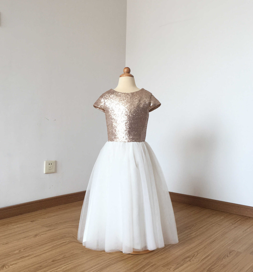Cap Sleeves Matte Champagne Sequin Ivory Tulle Floor-length Flower Girl Dress