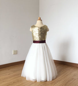 Floor-length Light Gold Sequin Ivory Tulle Flower Girl Dress with Burgundy Sash
