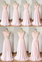 Load image into Gallery viewer, Cheap Blush Pink Spandex Long Convertible Bridesmaid Dress