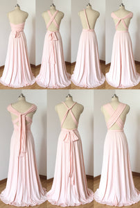 Cheap Blush Pink Spandex Long Convertible Bridesmaid Dress
