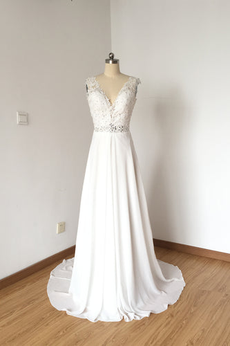 V-neck Ivory Lace Chiffon Long Prom Dress Wedding Dress
