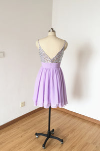 Spaghetti Straps Lilac Chiffon Short Homecoming Dress
