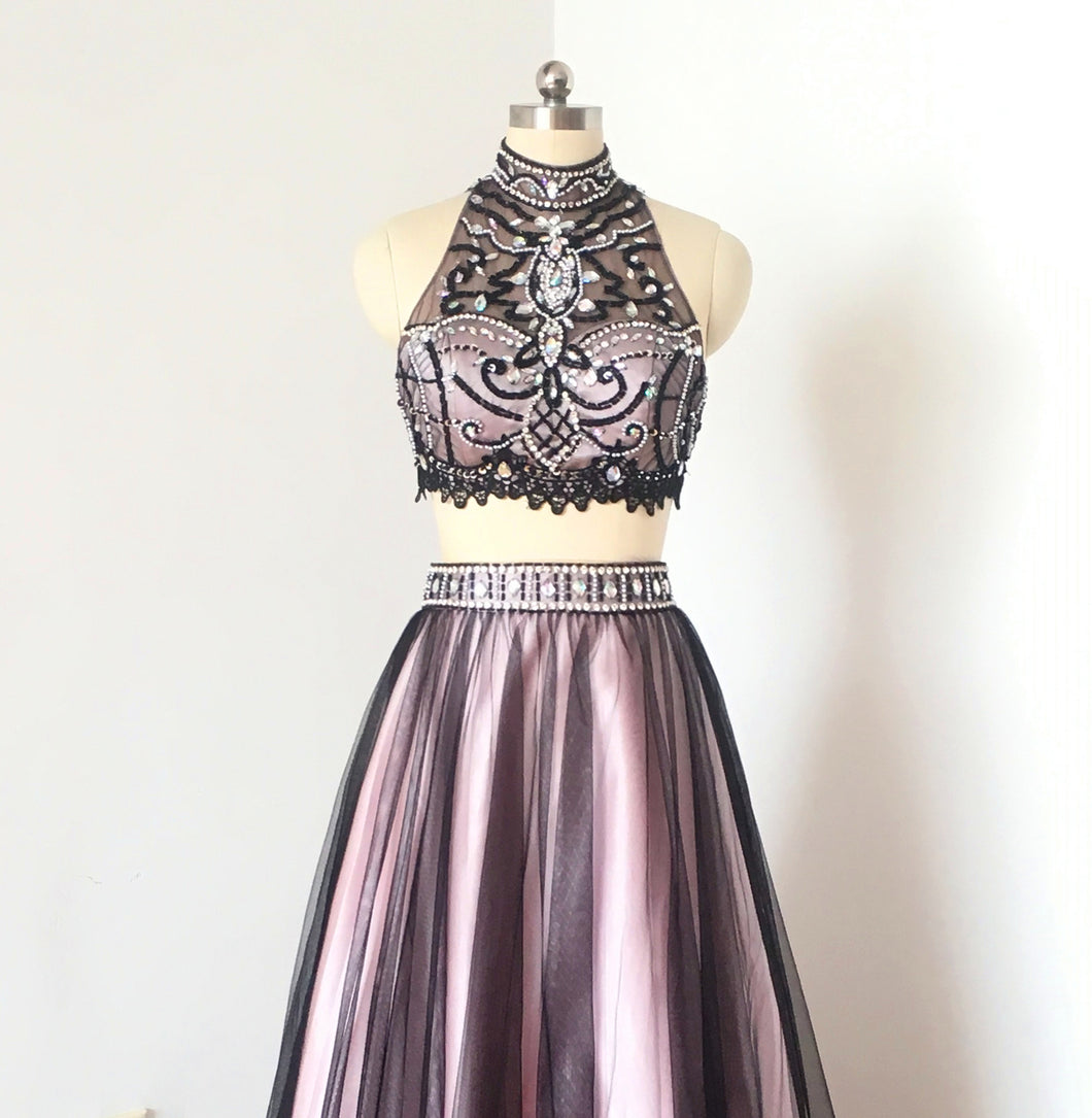 Gorgeous Two Piece Black Tulle Pink Lining Short Homecoming Dress