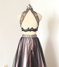 Load image into Gallery viewer, Gorgeous Two Piece Black Tulle Pink Lining Short Homecoming Dress