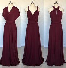 Load image into Gallery viewer, Burgundy Spandex Long Convertible Bridesmaid Dress