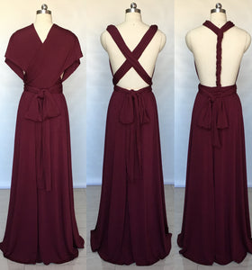 Burgundy Spandex Long Convertible Bridesmaid Dress