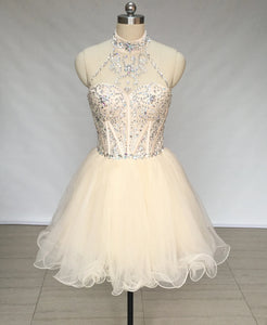 Halter Champagne Tulle Short Homecoming Dress
