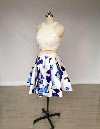 Two Piece Ivory Floral Print Satin Short Homecoming Dress