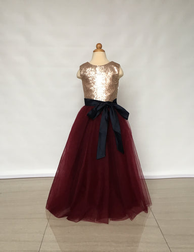 Floor-length Matte Champagne Gold Sequin Burgundy Tulle Flower Girl Dress with Black Sash