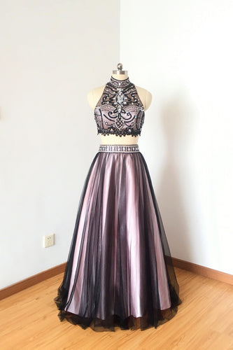 Two Piece Black Tulle Pink Lining Long Prom Dress 2020 Backless