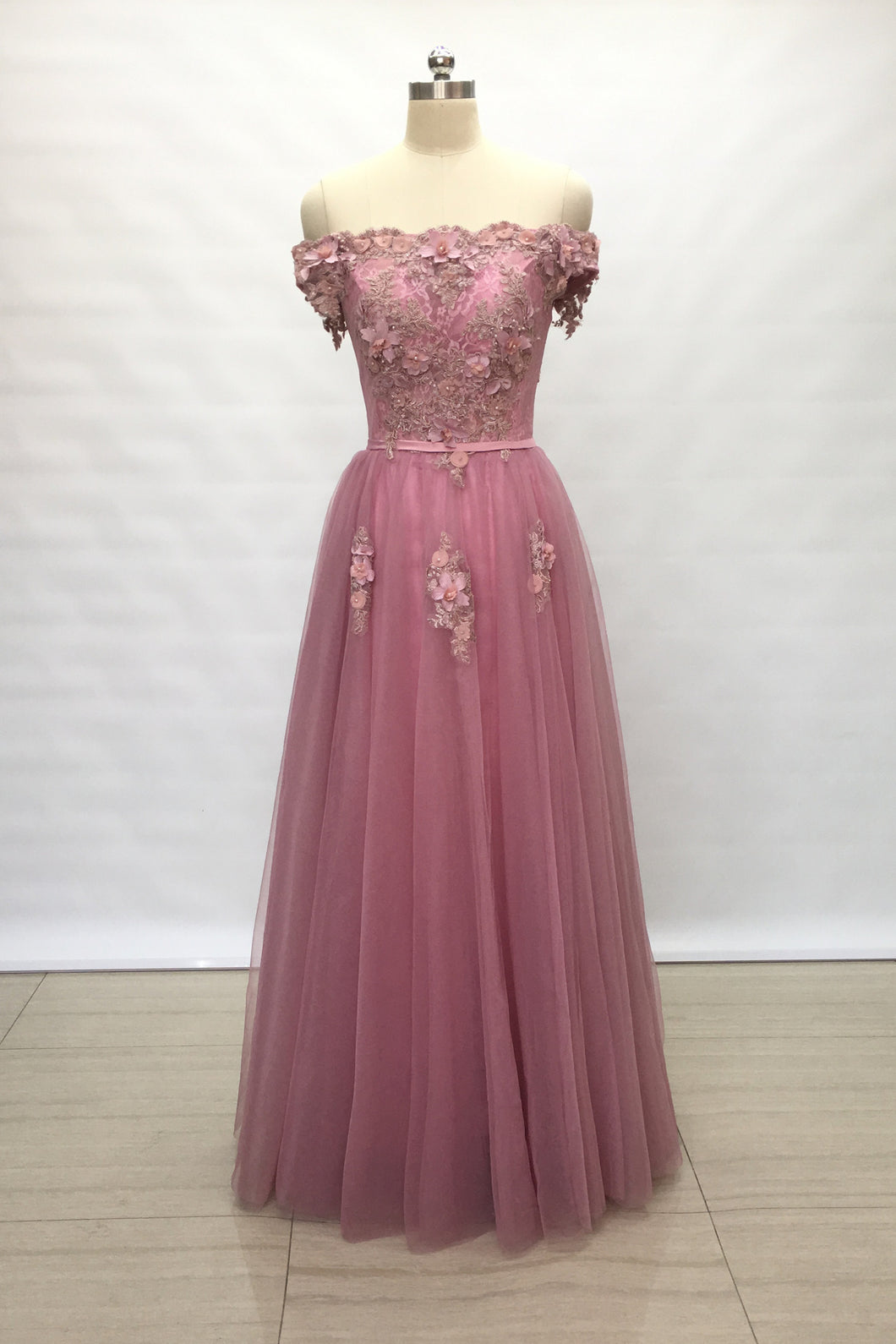 Off Shoulder Dusty Rose Lace Tulle Long Prom Dress 2020