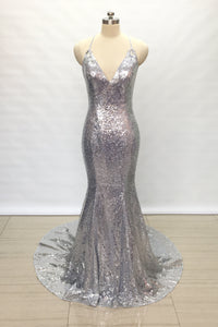 Spaghetti Straps V Neck Silver Sequin Long Prom Dress 2020 Mermaid