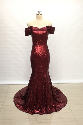 Off Shoulder Burgundy Sequin Long Bridesmaid Dress Mermaid