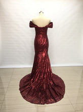Load image into Gallery viewer, Off Shoulder Burgundy Sequin Long Bridesmaid Dress Mermaid