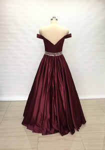 Off Shoulder Burgundy Satin Long Prom Dress 2020