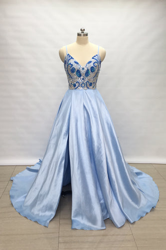 Spaghetti Straps Light Sky Blue Satin Long Prom Dress 2020 with Slit