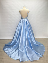 Load image into Gallery viewer, Spaghetti Straps Light Sky Blue Satin Long Prom Dress 2020 with Slit