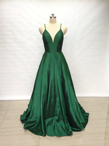 Spaghetti Straps Emerald Green Taffeta Long Prom Dress