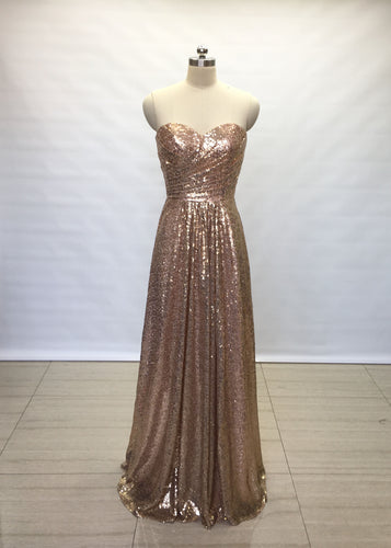 A-line Sweetheart Bronze Gold Sequin Long Bridesmaid Dress