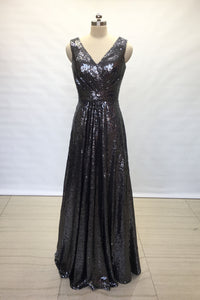 A-line V-neck Charcoal Grey Sequin Long Bridesmaid Dress