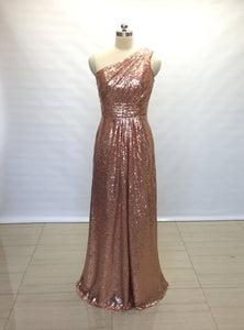 A-line One-shoulder Rose Gold Sequin Long Bridesmaid Dress