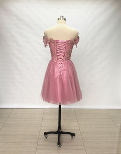 Off Shoulder Dusty Rose Lace Tulle Short Homecoming Dress Lace-up Back