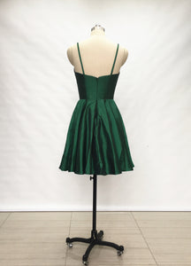 Spaghetti Straps Emerald Green Taffeta Short Homecoming Dress